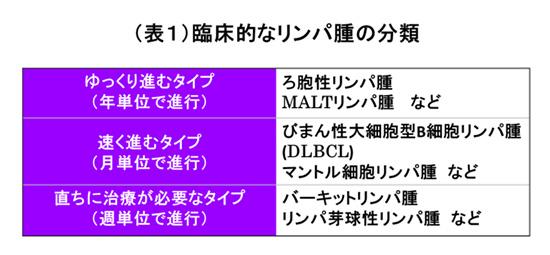 表1 臨床的なリンパ腫の分類