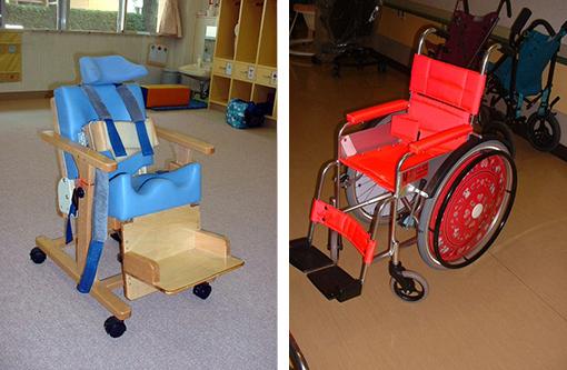 図3.座位保持装置の例(左) 図4.車椅子の例(自走式普通型車椅子)(右)