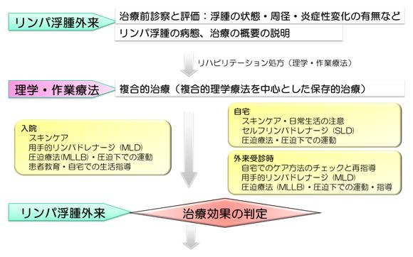 図4 リハビリテーション科におけるリンパ浮腫治療の流れ