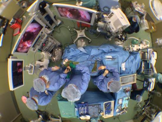 図8.経鼻内視鏡頭蓋底手術中の俯瞰図