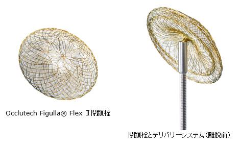 Occlutech Figulla® Flex Ⅱ閉鎖栓 閉鎖栓とデリバリーシステム(離脱前)