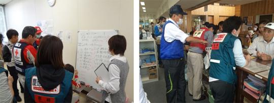 健所内での他チームとのミーティング 避難所内の診療所の様子