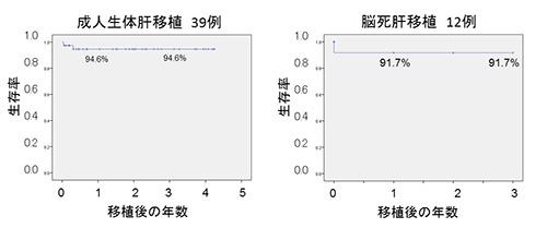 図1.最近4年の成人生体脳死肝移植患者の生存率
