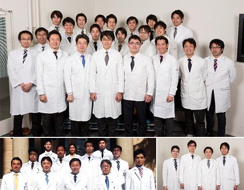 上:肝臓チーム 左下:小児チーム 右下:血管チーム