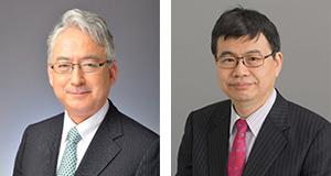 左から、耳鼻咽喉科学教室 小川郁教授、生理学教室 岡野栄之教授