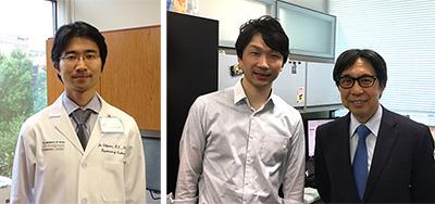 写真左:石澤丈(現所属:テキサス大学MDアンダーソンがんセンター白血病科インストラクター) 写真右:(左から)杉原英志(先端医科学研究所特任助教)、佐谷秀行(同研究所教授)