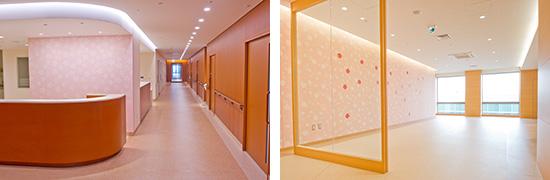 左:女性病棟スタッフステーション 右:産科病棟ラウンジ