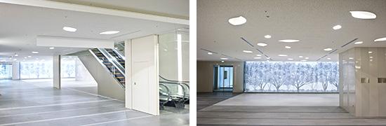 左:カフェラウンジ・フォレスト 右:杜の空間をイメージした光壁