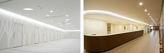 左:外来中待合 種々の木のデザイン 右:一般病棟スタッフステーション