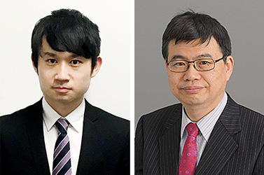 左から、藤森康希 (現所属:大日本住友製薬株式会社)、岡野栄之 (生理学教室教授)